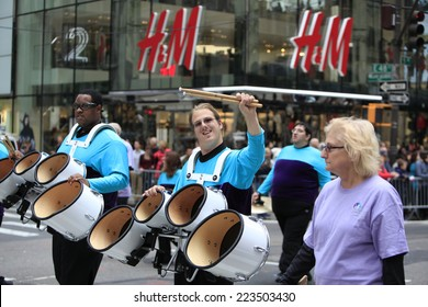 NEW YORK CITY - OCTOBER 13 2014: the 70th annual Columbus Day parade filled Fifth Avenue with thousands of marchers celebrating the pride of Italian heritage. Developmentally disabled band members