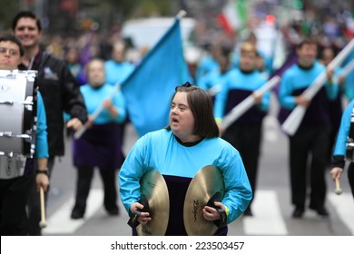 NEW YORK CITY - OCTOBER 13 2014: the 70th annual Columbus Day parade filled Fifth Avenue with thousands of marchers celebrating the pride of Italian heritage. Developmentally disabled school band