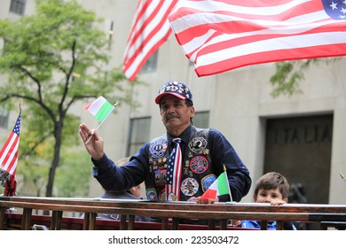 NEW YORK CITY - OCTOBER 13 2014: the 70th annual Columbus Day parade filled Fifth Avenue with thousands of marchers celebrating the pride of Italian heritage.