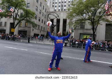 NEW YORK CITY - OCTOBER 13 2014: the 70th annual Columbus Day parade filled Fifth Avenue with thousands of marchers celebrating the pride of Italian heritage. Harlem Globetrotters.