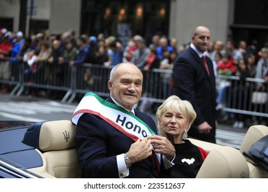 NEW YORK CITY - OCTOBER 13 2014: the 70th annual Columbus Day parade filled Fifth Avenue with thousands of marchers celebrating the pride of Italian heritage. Former NYPD commissioner Ray Kelly