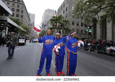 NEW YORK CITY - OCTOBER 13 2014: the 70th annual Columbus Day parade filled Fifth Avenue with thousands of marchers celebrating Italian-American pride. Harlem Globetrotters
