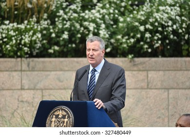 NEW YORK CITY - OCTOBER 13 2015: Mayor Bill de Blasio & NYPD commissioner William Bratton presided over the annual dedication ceremony at Battery Park NYPD memorial
