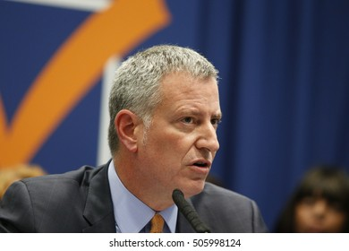 NEW YORK CITY - OCTOBER 13 2016: NYC mayor de Blasio helped register voters on Jay S & later held a press conference calling for reform of NY's election's process