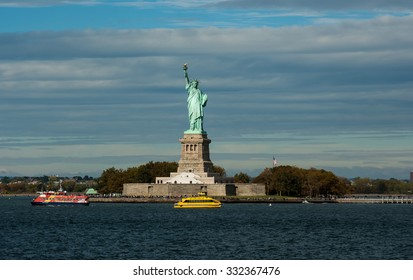 NEW YORK CITY, NEW YORK - OCTOBER 14, 2015: The view on Statue of Liberty from ferry boat