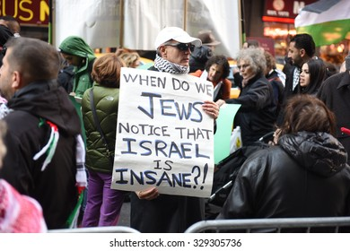 NEW YORK CITY - OCTOBER 18 2015: several hundred people gathered in Times Square to demonstrate for the Palestinian people & denounce Israeli & US policies in the mideast