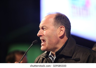 NEW YORK CITY - OCTOBER 18 2015: several hundred pro Israel activists filled Broadway in Times Square to listen to music & rally in support of Israel. Rally organizer Jeffrey Wiesenfeld of CUNY