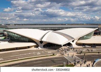 NEW YORK CITY - OCTOBER 18, 2015:  View of old space-aged style TWA Flight Center building at John F. Kennedy International Airport terminal 5