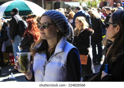 NEW YORK CITY - OCTOBER 19 2014: the Lower East Side's Orchard Street Pickle Day fair brought dozens of food & snack vendors into contact with hundreds of passersby.