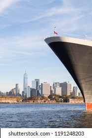 NEW YORK CITY - OCTOBER 20:  The bow of Cunard cruise liner Queen Mary 2 is pictured docked in Brooklyn, New York on October 20th, 2017.  The liner is the flagship of the Cunard fleet.