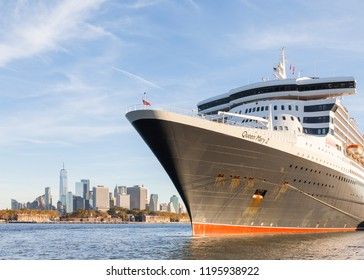 NEW YORK CITY - OCTOBER 20:  Cunard cruise liner Queen Mary 2 is pictured docked in Brooklyn, New York on October 20th, 2017.  The liner is the flagship of the Cunard fleet.
