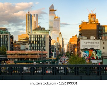New York City - October 20, 2018: Construction development at the Hudson Yards in Manhattan, NYC, on Chelsea West Side of residential apartments, offices