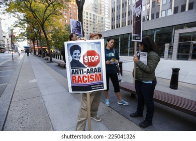 NEW YORK CITY - OCTOBER 20 2014: Al Awda sponsored a picket outside the Office of Homeland Security demanding that immigration fraud charges against Arab-American organizer Rasmea Obeh be dropped