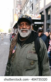 New York City - October 2015 - An Army Veteran portrait at Americas Parade in nyc