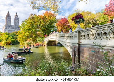 NEW YORK CITY - OCTOBER 2015: People enjoy Central Park in foliage season. New York attracts 50 million tourists worldwide annually.
