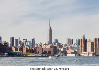NEW YORK CITY - OCTOBER 21:  Midtown Manhattan as viewed from the East River, New York City.  The Empire State Building stands above the surrounding buildings and is pictured on October 21, 2017.