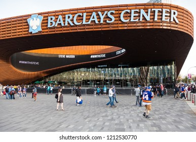 NEW YORK CITY - OCTOBER 21:  The Barclays Center, Brooklyn, pictured on October 21, 2017 is a multi purpose indoor arena.  The arena hosts basketball and ice hockey amongst other entertainment events.