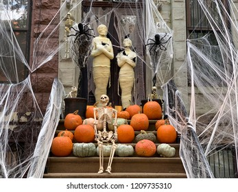 NEW YORK CITY - October 22, 2018: Halloween decorations in Upper West Side, Manhattan, NYC, USA.