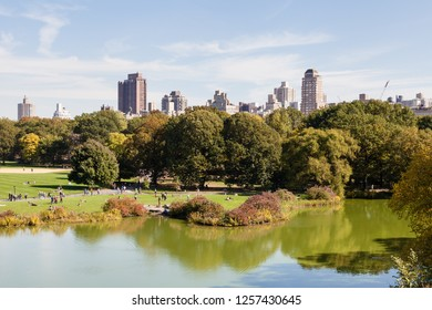 NEW YORK CITY - OCTOBER 22:  The view across Turtle Pond in Central Park, New York City on a still autumn morning is pictured on October 22, 2018.