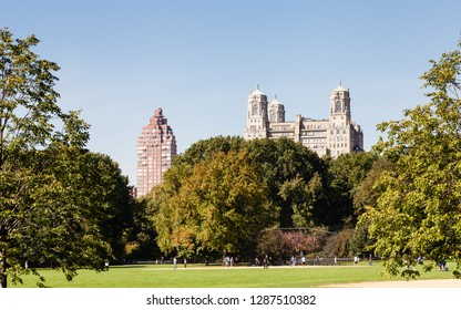 NEW YORK CITY - OCTOBER 22:  A game of baseball takes place in Central Park, New York City on a still autumn morning on October 22, 2018.