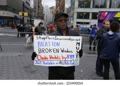 NEW YORK CITY - OCTOBER 22 2014: Stop Mass Incarcerations Network sponsored a Day of Resistance rally at Union Square Park followed by a march to Times Square in protest of nationwide police brutality
