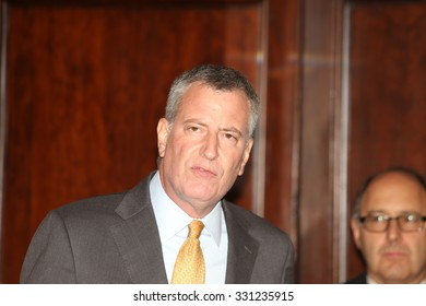 NEW YORK CITY - OCTOBER 22 2015: Answer The Call staged its 30th annual gala benefit at the Waldorf-Astoria in Manhattan. NYC mayor Bill de Blasio,