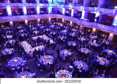 NEW YORK CITY - OCTOBER 22 2015: Answer The Call staged its 30th annual gala benefit at the Waldorf-Astoria in Manhattan. Banquet room the Waldorf-Astoria