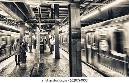 NEW YORK CITY - OCTOBER 23, 2015: Interior of Chambers Street city subway station. It's one of the world's oldest public transit systems.