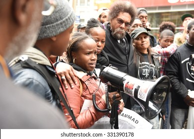 NEW YORK CITY - OCTOBER 24 2015: More than one thousand activists marched on behalf of the families of victims of alleged police brutality in RiseUpOctober. Fatma Muhammad with Dr Cornel West