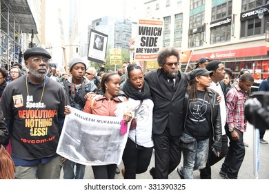 NEW YORK CITY - OCTOBER 24 2015: More than one thousand activists marched on behalf of the families of victims of alleged police brutality in RiseUpOctober. Carl Dix & Dr Cornel West march on 6th Ave