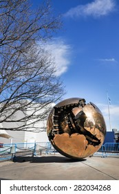 NEW YORK CITY - October 25: Globe of iron as Piece of Art in the Garden outside UN Headquarters , New York City on October 25,2010