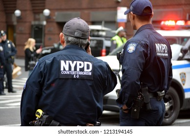 New York City - October 26, 2018: Members of the NYPD counter terrorism department responding to a suspicious package found at a post office in New York City.