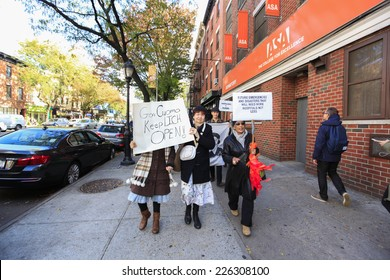 NEW YORK CITY - OCTOBER 26 2014: the Cobble Hill Association, Concerned Physicians of LICH, community members & officials gathered in Cobble Hill to protest the sale of Long Island Community Hospital