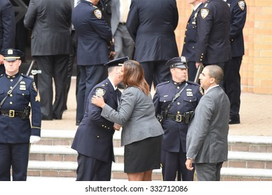 NEW YORK CITY - OCTOBER 27 2015: Police officers, families of police and elected officials attended a viewing for slain NYPD officer Randolph Holder in Jamaica, Queens.