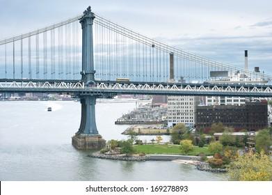 NEW YORK CITY - OCTOBER 27:New York City Landmark Manhattan bridge on Brooklyn side, New York City on October 27th, 2013 in New York City, USA