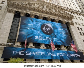New York City, October 28, 2019: Banner on the New York Stock Exchange Building celebrating the IPO of Virgin Galactic spaceflight company in Lower Manhattan.