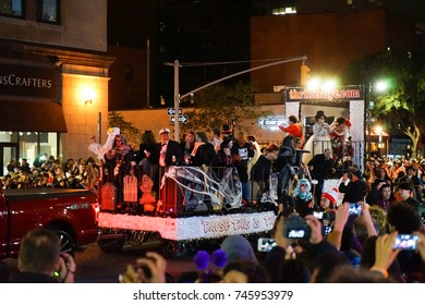 NEW YORK CITY - OCTOBER 31 2017: the 44th annual West Village Halloween parade filled Sixth Avenue with vividly costumed participants while thousands more watched from the sidelines.