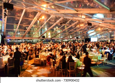 NEW YORK CITY - OCTOBER 5 2017: The Brooklyn Bridge Park Conservancy heads its 5th annual Black Tie Ball.