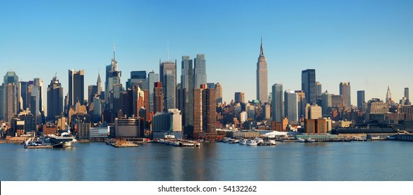 New York City panorama with Manhattan Skyline over Hudson River.