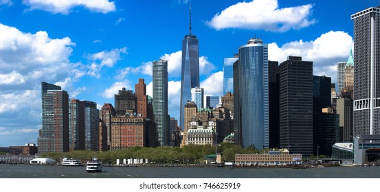 New York City panorama with Manhattan Skyline over Hudson River. Landscape of NYC