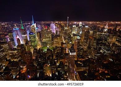 New York City panorama at night.