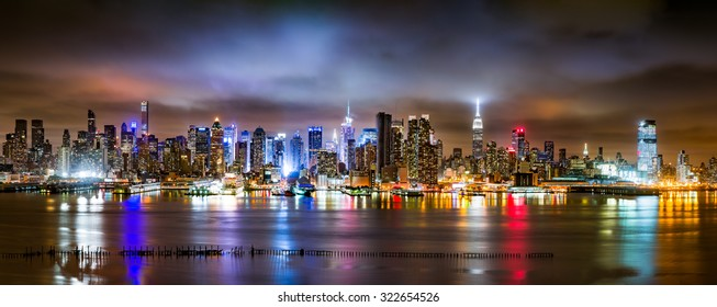New York City Panorama on a cloudy night as viewed from New Jersey across the Hudson River (>90Mpx)