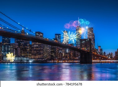 New York City Panoramic landscape view of Manhattan with fireworks. New Year 2018 Concept.
