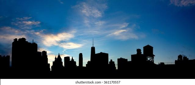 New York City Panoramic Skyline Buildings