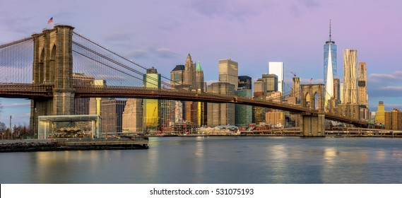 New York City - Panoramic view of Manhattan with famous Brooklyn Bridge at early morning, big size
