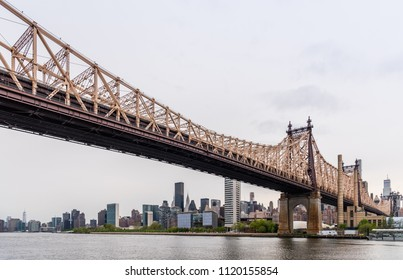 New York City Queensboro Bridge Over East River View On Roosevelt Island From Queens Park
