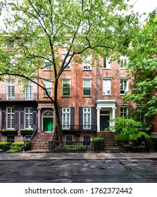 New York City - Row of historic brownstone buildings along Washington Square Park in Manhattan NYC