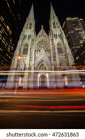 New York City  - Saint-Patrick Cathedral by night in Manhattan