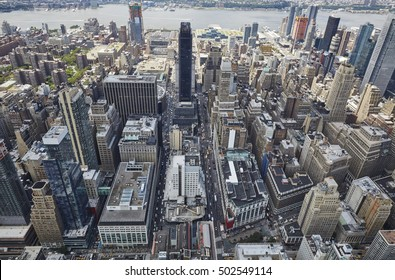New York City as seen from the sky. rooftop view.