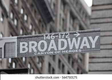 New York City - Sep 2010: Street sign 'Broadway' in Manhattan.